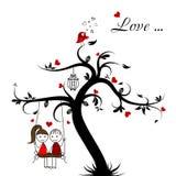 Tarjeta de la historia de amor, vector stock de ilustración