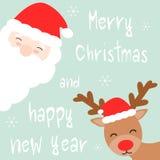Tarjeta de la historieta de la Feliz Navidad dibujada mano linda y de la Feliz Año Nuevo con Papá Noel y el reno Foto de archivo libre de regalías