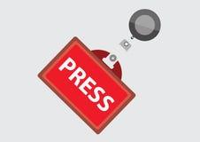 Tarjeta de la identificación del pase de prensa Imagen de archivo