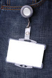 Tarjeta de la identificaci?n con mezclilla Imagen de archivo libre de regalías