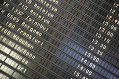 Tarjeta de la información de los vuelos Foto de archivo