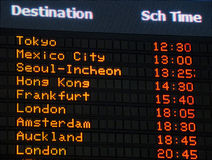 Tarjeta de la información del aeropuerto Imagenes de archivo