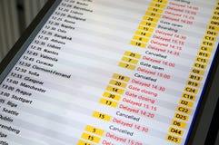 Tarjeta de la información del vuelo Imagenes de archivo