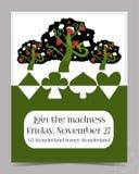 Tarjeta de la invitación - árbol del jardín del país de las maravillas Fotografía de archivo libre de regalías
