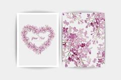 Tarjeta de la invitación de la boda La composición del vector de la lila rosada florece el ejemplo Excepto la fecha Fondo floral  Fotografía de archivo