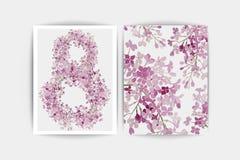 Tarjeta de la invitación de la boda La composición del vector de la lila rosada florece el ejemplo Excepto la fecha Fondo floral  Foto de archivo