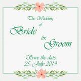 Tarjeta de la invitación de la boda con las flores Imágenes de archivo libres de regalías