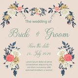 Tarjeta de la invitación de la boda con las flores imagenes de archivo