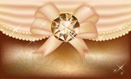 Tarjeta de la invitación con el diamante y la cinta Fotografía de archivo