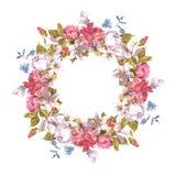 Tarjeta de la invitación con la guirnalda floral Foto de archivo libre de regalías