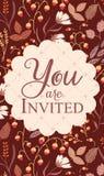 Tarjeta de la invitación, con la muestra le invitan Imágenes de archivo libres de regalías