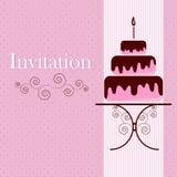 Tarjeta de la invitación con la torta Foto de archivo libre de regalías