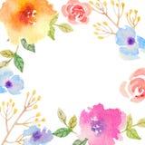 Tarjeta de la invitación con las flores de la acuarela para su Imagenes de archivo
