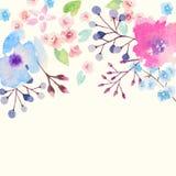 Tarjeta de la invitación con las flores de la acuarela para su Imagen de archivo