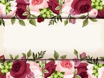 Tarjeta de la invitación con las rosas rojas y rosadas Vector EPS-10 stock de ilustración