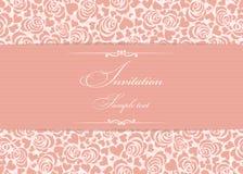 Tarjeta de la invitación con las rosas rosadas Imagenes de archivo