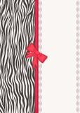 Tarjeta de la invitación con textura de la cebra Fotografía de archivo