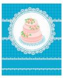 Tarjeta de la invitación con una torta Imagen de archivo libre de regalías