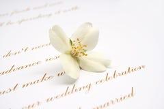 Tarjeta de la invitación de la boda Foto de archivo libre de regalías