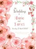 Tarjeta de la invitación de la boda Imagenes de archivo