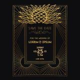 Tarjeta de la invitación de la boda - Art Deco ilustración del vector