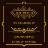 Tarjeta de la invitación de la boda - Art Deco Style Fotografía de archivo libre de regalías