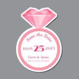 Tarjeta de la invitación de la boda con Diamond Ring Imagen de archivo libre de regalías