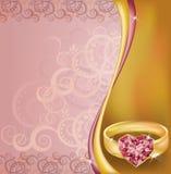 Tarjeta de la invitación de la boda con el anillo de rubíes del corazón Foto de archivo