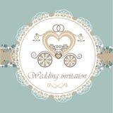 Tarjeta de la invitación de la boda con el carro Imagen de archivo