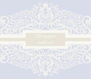 Tarjeta de la invitación de la boda con el ornamento del cordón Fotografía de archivo libre de regalías