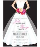 Tarjeta de la invitación de la boda con el vestido de boda Imagenes de archivo