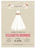 Tarjeta de la invitación de la boda con el vestido de boda Fotos de archivo libres de regalías