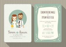 Tarjeta de la invitación de la boda con la historieta linda del novio y de la novia stock de ilustración