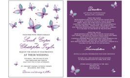 Tarjeta de la invitación de la boda con la mariposa Foto de archivo
