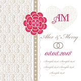 Tarjeta de la invitación de la boda con los elementos florales. Foto de archivo libre de regalías