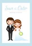 Tarjeta de la invitación de la boda de la historieta Foto de archivo libre de regalías