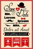 Tarjeta de la invitación de la boda en estilo del inconformista stock de ilustración