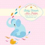 Tarjeta de la invitación de la fiesta de bienvenida al bebé con el elefante y el pequeño pato Fotografía de archivo