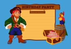 Tarjeta de la invitación de la fiesta de cumpleaños con el pirata Fotos de archivo