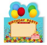 Tarjeta de la invitación de la fiesta de cumpleaños con la torta Fotos de archivo