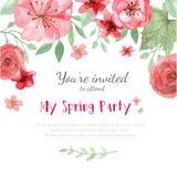 Tarjeta de la invitación de la flor Imágenes de archivo libres de regalías