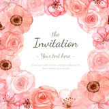 Tarjeta de la invitación de la flor Fotografía de archivo
