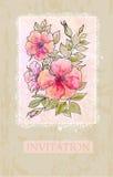 Tarjeta de la invitación de la flor del vintage Imagenes de archivo