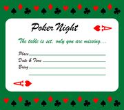 Tarjeta de la invitación de la noche del póker Fotos de archivo