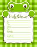 Tarjeta de la invitación de la rana de la fiesta de bienvenida al bebé Foto de archivo libre de regalías