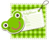 Tarjeta de la invitación de la rana de la fiesta de bienvenida al bebé Fotografía de archivo
