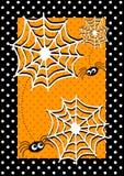 Tarjeta de la invitación de las arañas de Víspera de Todos los Santos Imágenes de archivo libres de regalías