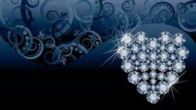 Tarjeta de la invitación del amor de la boda con el corazón del diamante Foto de archivo