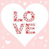 Tarjeta de la invitación del amor de la tarjeta del día de San Valentín con los corazones Foto de archivo