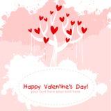 Tarjeta de la invitación del amor del color de rosa del día de tarjeta del día de San Valentín Imagen de archivo libre de regalías